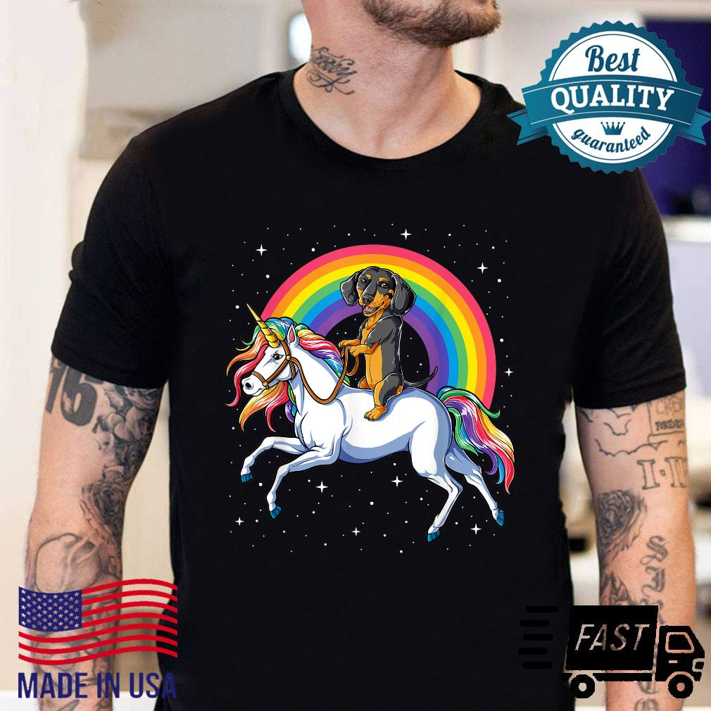Dachshund Unicorn Girls Space Galaxy Rainbow Dog Shirt sweater