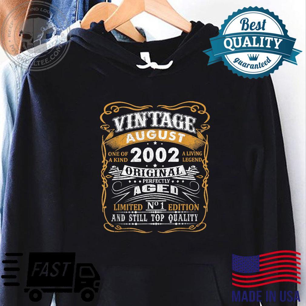 Vintage August 2002 Shirt 19 Years Old 19th Birthday Shirt hoodie