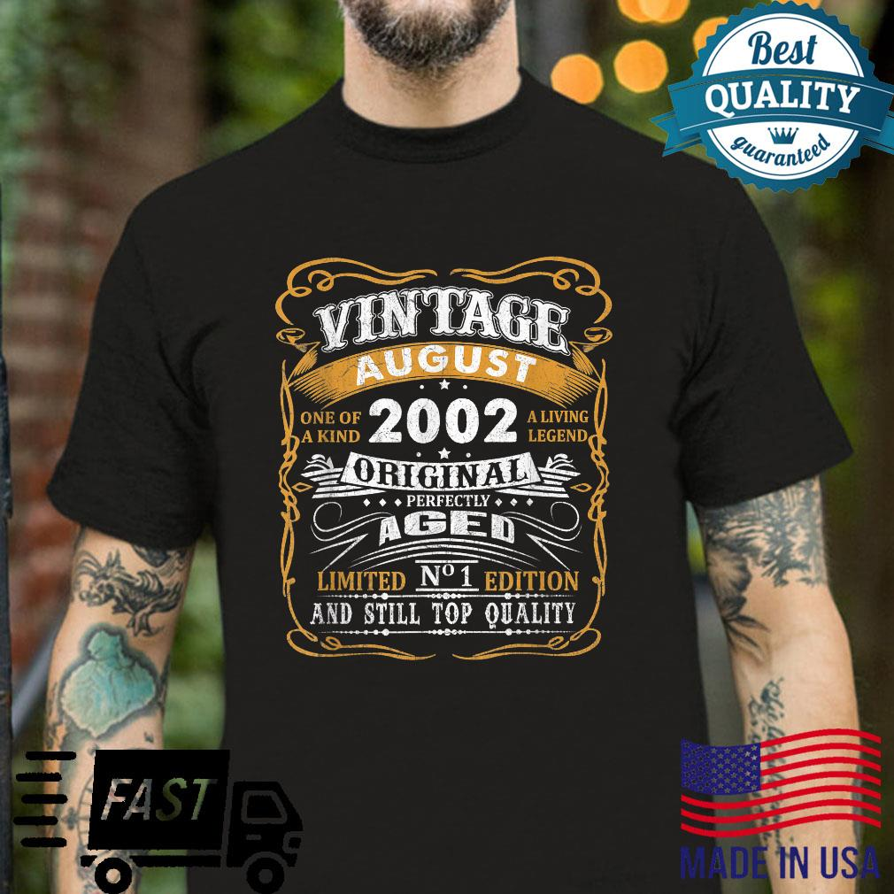 Vintage August 2002 Shirt 19 Years Old 19th Birthday Shirt